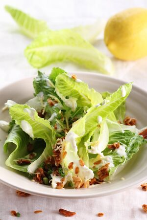 croutons: new vegetarian caesar salad with oat croutons Stock Photo