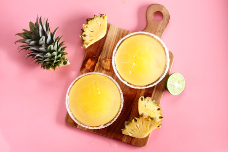 fruits juice: Fresh pineapple juice in the glass with slice Stock Photo