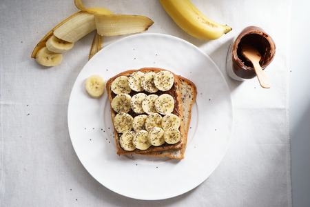 booting: banana and chia seeds sandwich on brown cereal bread