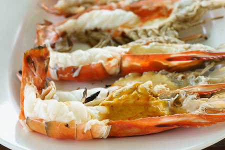 grilled giant river prawn with yellow creamy fat on head
