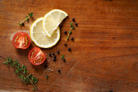 copy  space: ingredient herbs on wooden background, copy space