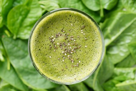 chia seed: Fresh green juice smoothie made with organic green fruits and vegetables, top with chia seed