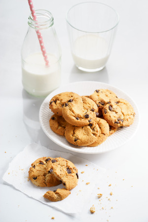 chocolate chip: chocolate chip cookies with milk