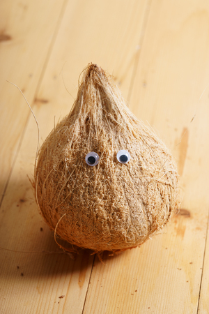 coconut with animate eye ball, abstract nature concept Stock Photo