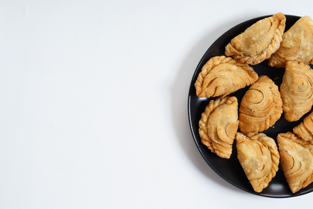 small chicken pies, curry puff, with curry herb Stock Photo