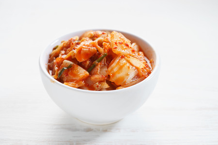 Kimchi in white bowl, Korean traditional food