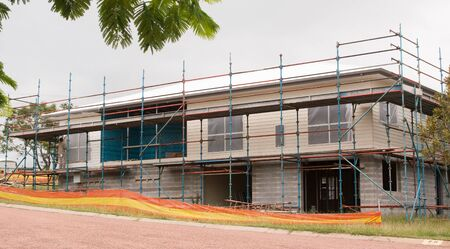two story: Two story new house construction with scaffolding Stock Photo