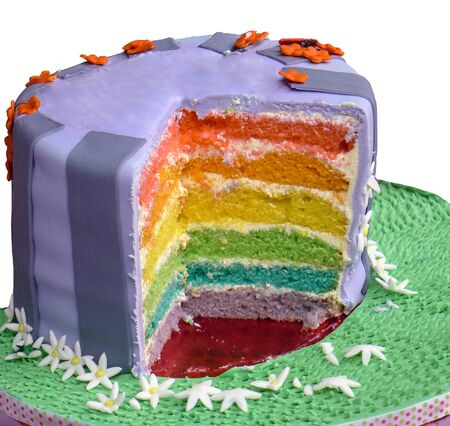 multilayered: Multi-layered cake with many colours Stock Photo