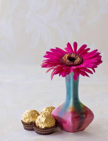 copyspace: Vase with single pink chrysanthemum, chocolates and copyspace