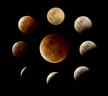 eclipse: Many phases of the total lunar eclipse or blood moon Stock Photo