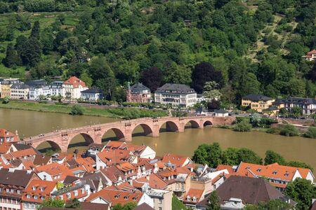karl: Karl Theodor Bridge on the Neckar River, view from Heidelberg Castle Stock Photo