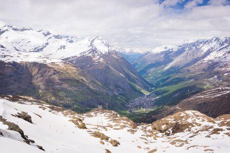 snow covered mountains: Zermatt, Switzerland with snow covered mountains Stock Photo