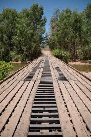 the outback: Old damaged bridge in outback Australia