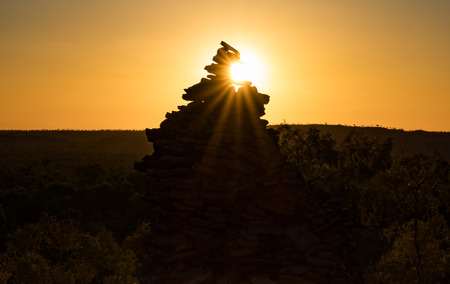 outback australia: Sunset on cairn in outback australia, background