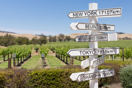 Direction and distance to cities of the world from Australian vineyard Stock Photo