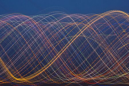 intentional: Motion blur light trail colourful night background Stock Photo
