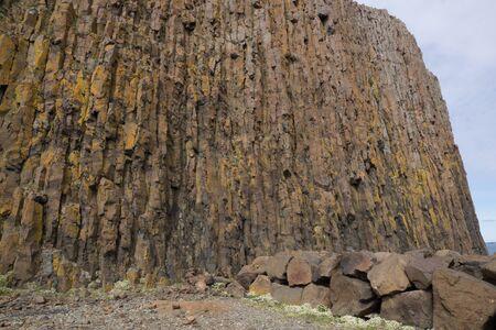 columnar: Basalt columnar rock formation,  Stykkisholmur Stock Photo
