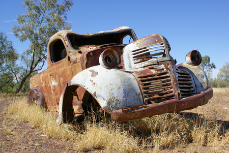 deteriorate: Rusty old car in outback Queensland, Australia