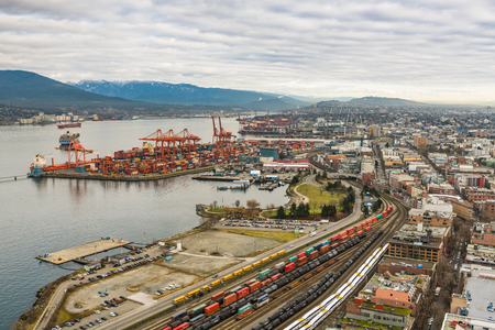 hundreds: Vancouver, Canada - January 28, 2017: Vancouver Port with hundreds of shipping containers. Editorial