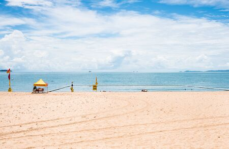 stingers: Swimming enclosure to protect from marine stingers and sharks on The Strand beach, Townsville, Australia