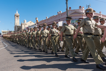 Charters Towers, Australia - April 25, 2016: Soldiers marching on Anzac Day in Charters Towers, Queensland Australia Editorial