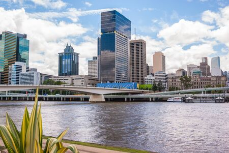highrises: Brisbane inner city and skyline from Southbank gardens, Brisbane, Australia
