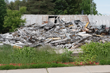 Pile of rubbish, timber and steel from demolished house Stock Photo