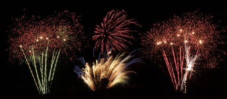 Fireworks display panorama suitable as banner Stock Photo