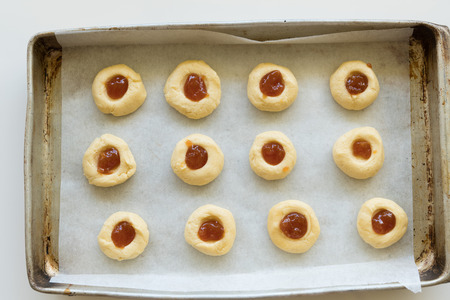 Tray of biscuits  cookies about to go in oven