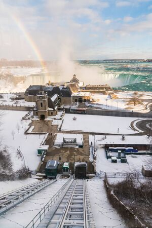 Niagara Falls from above in winter with rainbow Stock Photo