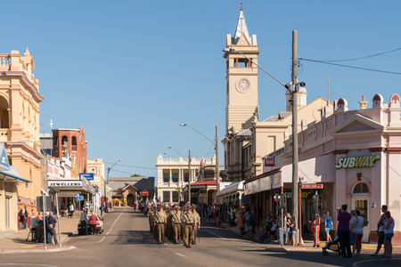 April 25, 2018 - Charters Towers, Australia: Soldiers leading the Anzac Day march in Charters Towers, Queensland, Australia Editorial