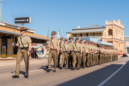 Charters Towers, Australia - April 25, 2018: Soldiers marching on Anzac Day in Charters Towers, Queensland, Australia