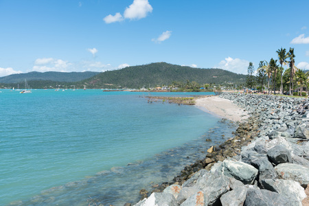 Blue water in protected bay at Airlie Beach, Queensland, Australia