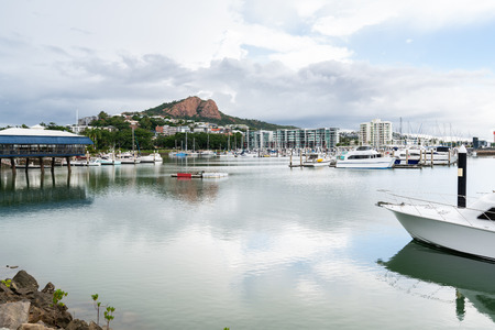 Boats in Townsville Marina with Castle Hill in background