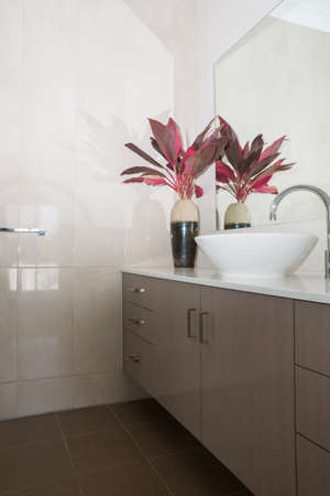 New contemporary bathroom with granite bench top and tiled walls Archivio Fotografico