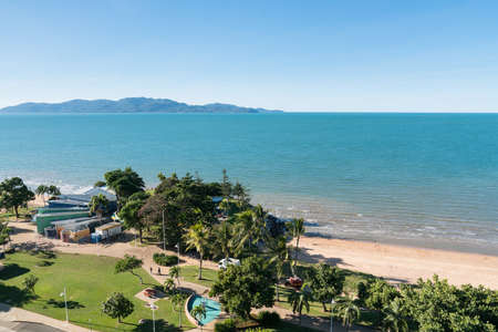 View to Magnetic Island from above The Strand beach, Townsville