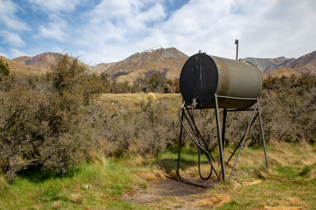 A diesel fuel tank on a high country farm