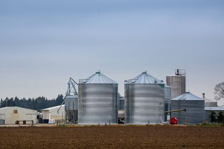 Large silos for grain storage on a farm in New Zealand