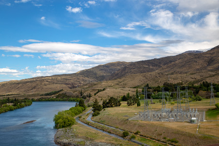 The substation below the Aviemore Dam on the bank of the Waitaki River, New Zealand
