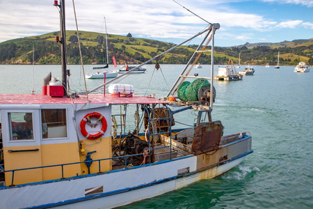 Akaroa, New Zealand - January 7 2019: A fisherman returns with his catch after a day at work