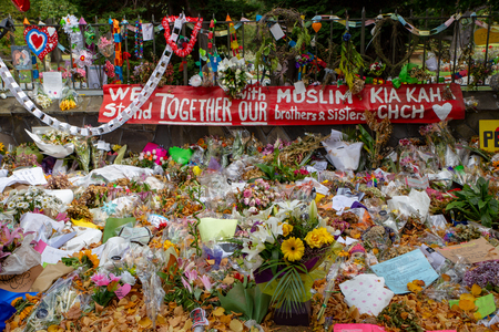 Christchurch, Canterbury, New Zealand, March 29 2019: Flowers to remember the victims of the March 15 2019 Christchurch Mosque Shootings