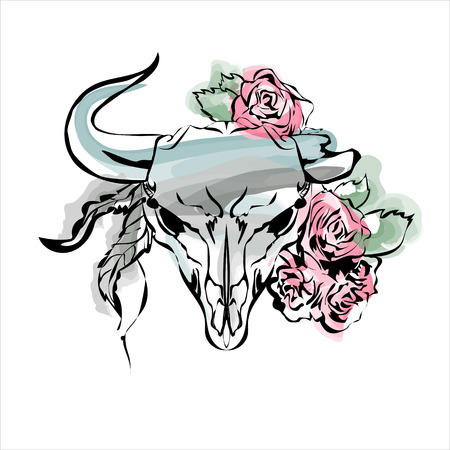 horn like: Watercolor bulls head with flowers and feathers