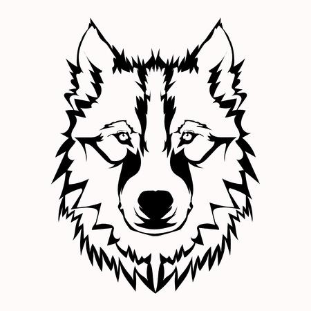 Vector illustratie van de wolf gezicht zwart en wit tattoo Vector Illustratie