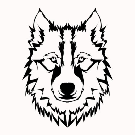 silhouettes: Vector illustration of wolf face black and white tattoo