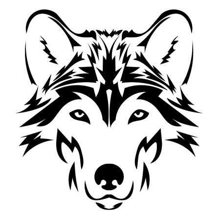 Beautiful wolf tattoo.Vector wolfs head as a design element on isolated background