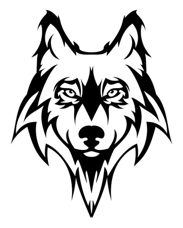 black wolf: Beautiful wolf tattoo.Vector wolfs head as a design element on isolated background
