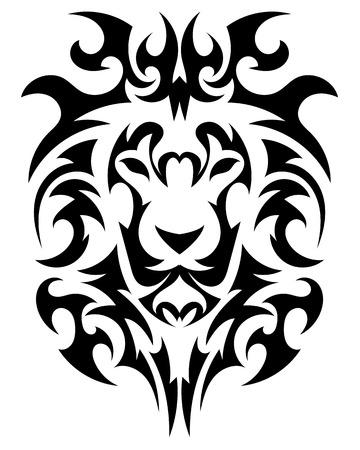 Cabeza de León en la forma de un tatuaje estilizado