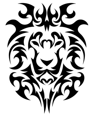Lions Head in the form of a stylized tattoo
