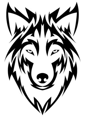 testa Bella lupo tattoo.Vector del lupo come un elemento di design su sfondo isolato