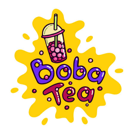 Bubble Tea Boba Tea Logo Vector Illustration. Doodle Cartoon style mascot logo. Splash background